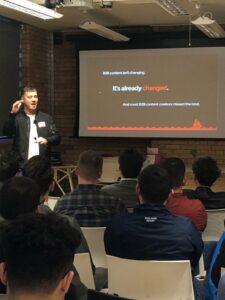 Dan Kelsall speaking at The Marketing Meetup