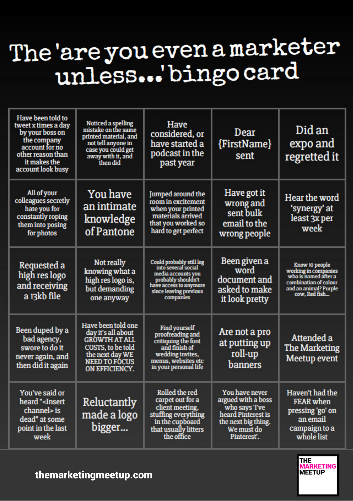 Marketers bingo