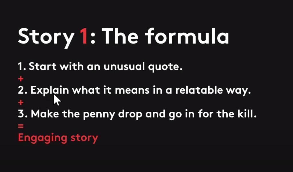 The formula for storytelling