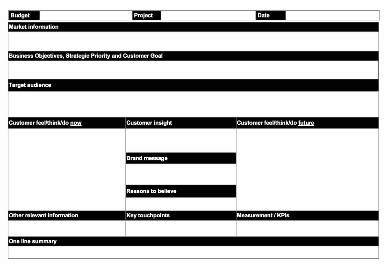 One page creative briefs